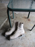 Patio End Table and Antique/Vintage Leather Ice Skates