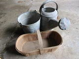 Antique/Vintage Galvanized Pail and Water Can and Basket