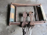 Antique/Vintage Metal Strap ON Roller Skates and Camp Stool Frame-Fabric Riped