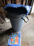Rubbermaid Trash Can with Lid, on Wheels and 2 Tarps, 1 New 6' x 8'