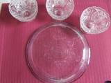3 Crystal Dessert Bowls and Fire-King Pie Plate