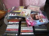 Lot of DVDs, CDs, Cassette Tapes and Box Holder
