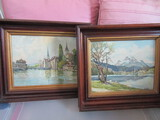 Vintage Pair of Unsigned Painting on Board with Wood Frames