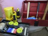 Tool Box with Tools, Hammers, Tape Measure, Flashlights