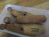 Pair of Vintage Shoe Stretchers and Mortar