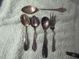 Antique Horderves Spoons and Fork, Mostly Sterling