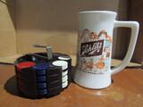 Vintage Schlitz Beer Stein and Poker Chips in Holder