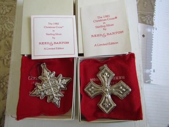Sterling Silver Reed & Barton L.E. 1981 & 82 Ornaments, .97 oz