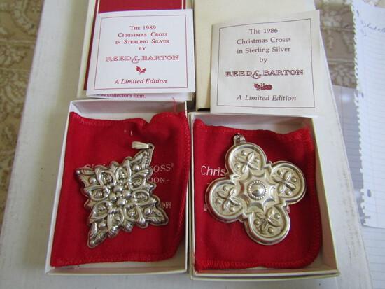 Sterling Silver Reed & Barton L.E. 1986 & 89 Ornaments, .92 oz