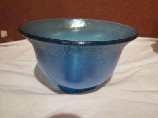 Antique/Vintage Blue Iridescent Footed Bowl