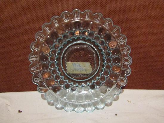 Antique/Vintage Blue Bubble Childs ABC's and Clock Plate