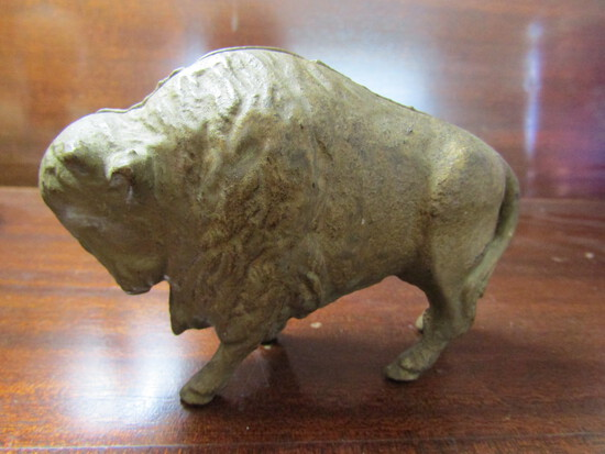 Antique/Vintage Cast Iron Steel Buffalo/Bison Coin Penny Bank