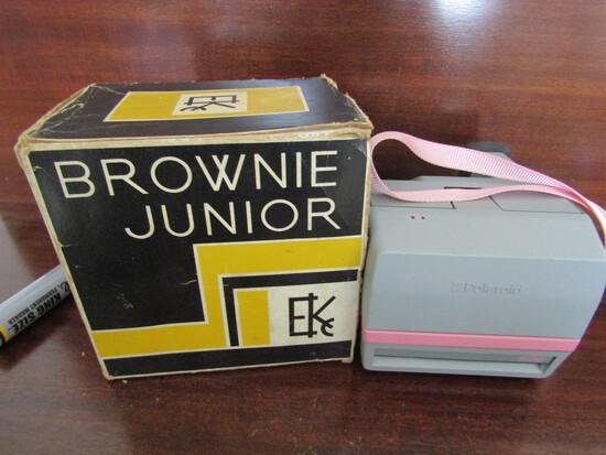 Vintage Cameras, Pink Polaroid Cool Cam Made in Poland, Brownie Jr. Kodak Camera, Works