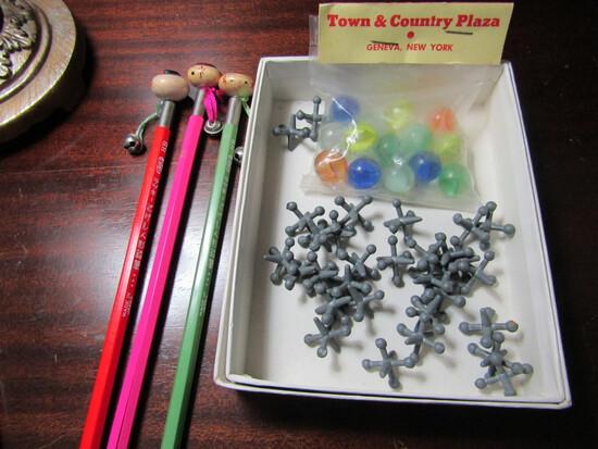 Vintage Jacks, Marbles and Rare Kokeshi Wood Bobble Head Pencils