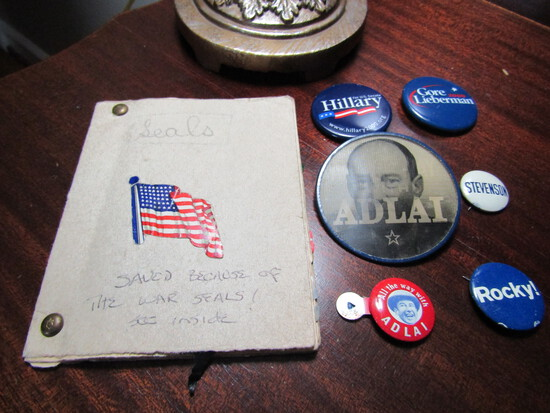 Vintage Political Pins, Adlai Flash Pin etc. and Seals Collection With War Seals