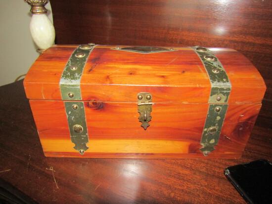 Vintage Wood Box with Mirror