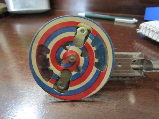 Vintage 4th of July Toy, Mechanical Litho Spinning Sparking Wheel, Works