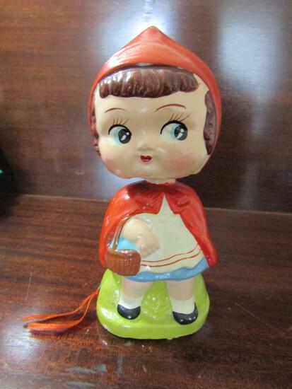 Rare Furi Pin Cushion Bobble Head Little Red Riding Hood, Japan Cira 1930-1950