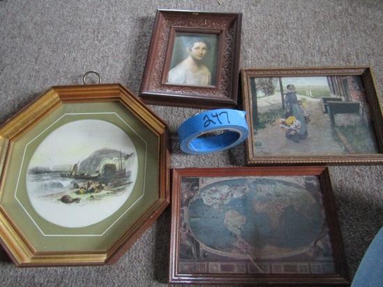 Lot of 4 Old Art Prints, Wood Frames