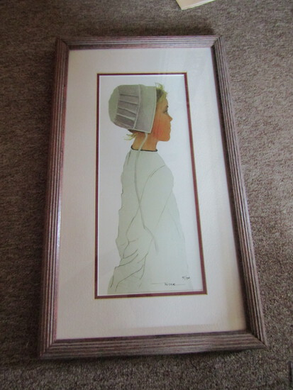 Nice Signed Print Amish Girl, Number 41/500