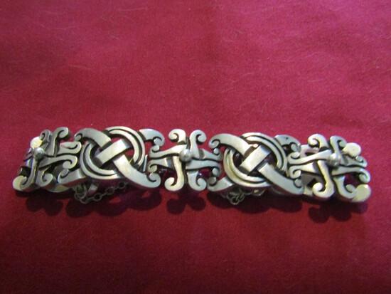 Vintage Taxco Mexico Sterling Silver Link Panels Bracelet, 63.7gms, Stamped 925