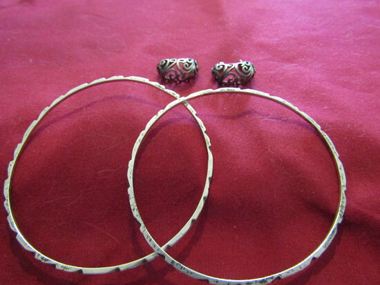 Vintage Mexico Sterling Silver Earrings and 2 Bangle Bracelets, Stamped 925, 15gms