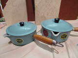 Schiller & Asmus Cast Iron and Enamel Sauce Pans, New, Made in France