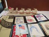 Vintage Christmas Card and Santa and Reindeers Decoration