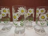 Vintage Set of 4 MCM Culver Ltd. Daisy Handpainted Stemmed Glasses