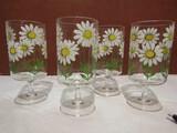 Vintage Set of 4 Culver Ltd. Daisy Handpainted Stemmed Glasses