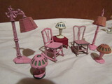 Tootsie Metal Dollhouse Furniture, Rocking Chairs, Lamps