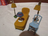 Tootsie Metal Dollhouse Furniture, Gold Lamps, Chairs
