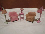 Tootsie Metal Dollhouse Furniture, Pink Lamps, Chairs