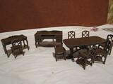 Tootsie Metal Dollhouse Furniture, Brown Desks and Table Set
