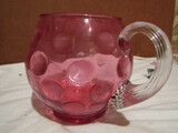 Thumbprint Cranberry Pitcher with Applied Handle