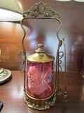 Antique/Vintage Cranberry Pickle Jar, 3 Piece Set, Quadruple Plate Silver