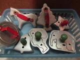 Vintage Wood and Metal Handle Holiday Cookie Cutters, Santa