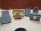 Tootsie Dollhouse Grand Piano and Blue Bedroom Set
