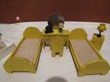 Vintage Yellow Wood Miniture Doll Furniture, Bedroom