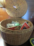 Antique/Vintage Old Basket with Lid and Sewing Supplies