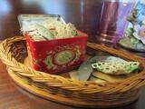 Antique/Vintage Basket, Old Tin, Crochet Items