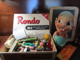 Rondo Cigar Box with 1940s Toys, Large Sqeaky Toy