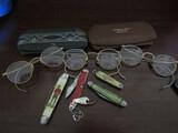 Antique/Vintage Gold Filled Eyeglasses and Pocket Knives