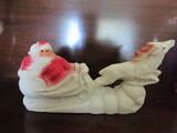 Vintage Paper Macha Santa Clause and Reindeer Sleigh, 10.5
