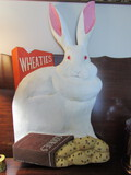 Vintage Wood Rabbit Wheaties Sign, Signed, 21