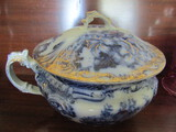 Rare Wood and Son, England, Large Flow Blue Chamber Pot