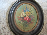 Antique Painting on Board Rose Floral, OVAL Frame, Unsigned