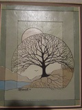 Signed Dale V Marriott Green Tree Relief Art