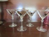 Vintage Black Rooster with Gold Trim Martini Glasses, Set of 4