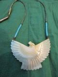 Vintage MOP Indian Sterling Silver Eagle Fetish Necklace